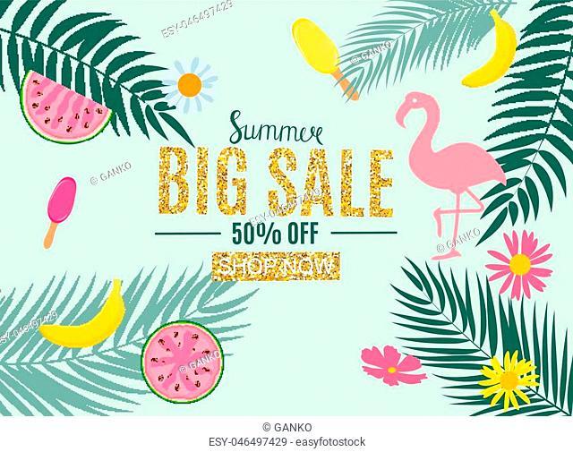 Summer Sale Abstract Banner Background Vector Illustration EPS10