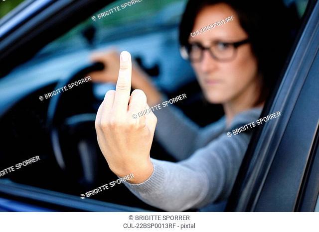 Woman showing bad gesture