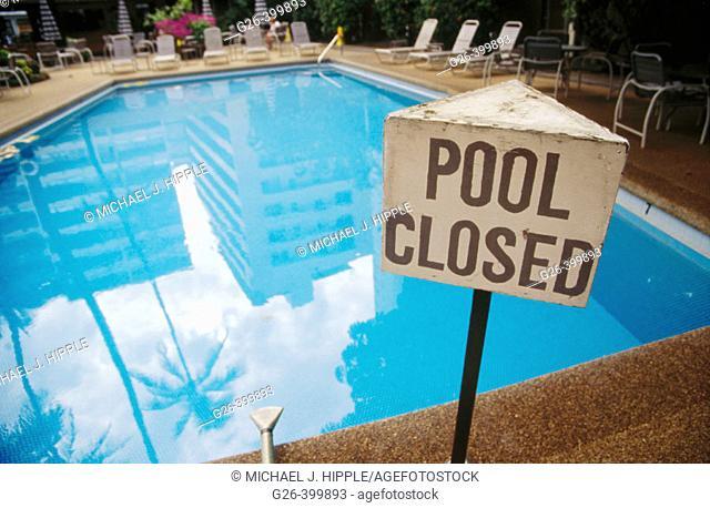 Pool closed. Waikiki, Honolulu county. Oahu. Hawaii. USA