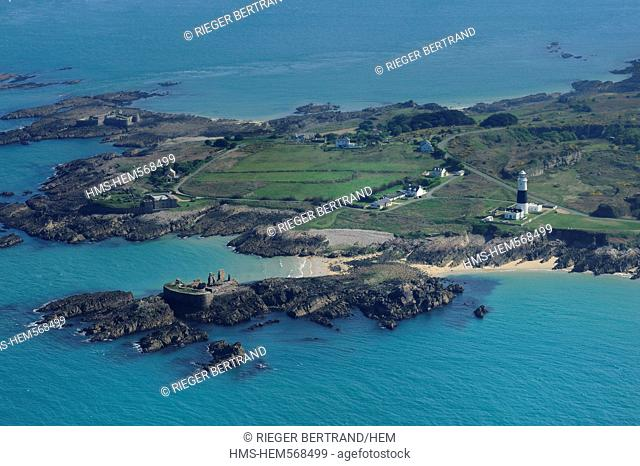 United Kingdom, Channel islands, Alderney, fort Houmet Herbe in the back, fort Quesnard, ruins of fort Les Homeaux Florains and Mannez lighthouse aerial view