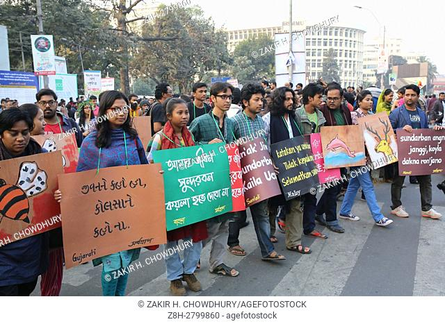 DHAKA, BANGLADESH - JANUARY 07 : Bangladeshi activists attend a protest to stop making coal power plant in Sundarban area in Dhaka, Bangladesh on January 07