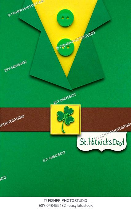 Creative St. Patricks Day concept photo of a leprechauns costume made of paper