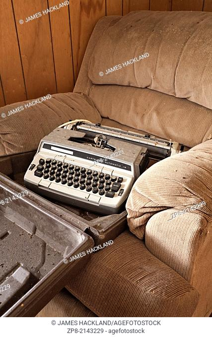 An old typewriter found in an abandoned house in the District of Parry Sound in Ontario, Canada