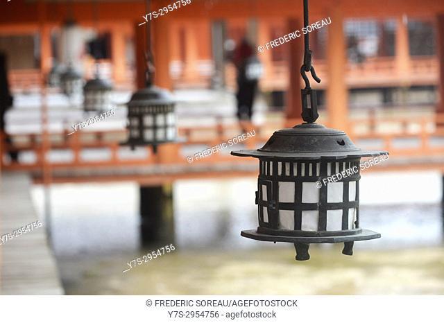 Lanterns and vermillion columns ,Miyajima Itsukushima Shrine, Japan,Asia