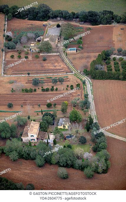 Aerial view of a country house, Mallorca field, Balearic Islands, Spain