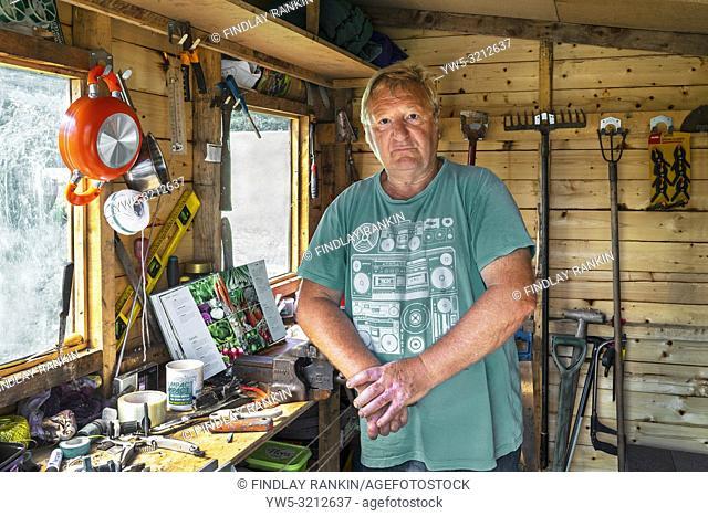 Image of Brian Harrison, plot 26, Eglinton Growers Allotments, Kilwinning, Ayrshire, Scotland, UK