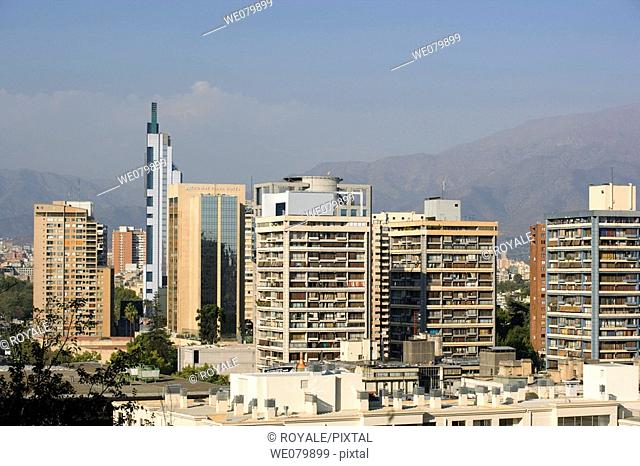 Downtown Skyline From Cerro Santa Lucia. Santiago. Chile
