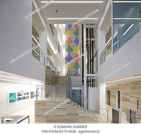 Interior reception view with artwork by Rasheed Araeen. Aga Khan Centre, London, United Kingdom. Architect: Maki and Associates, 2018