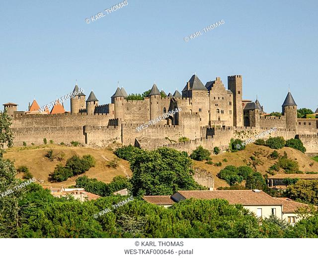 France, Languedoc-Roussillon, View to fortress city Carcassonne