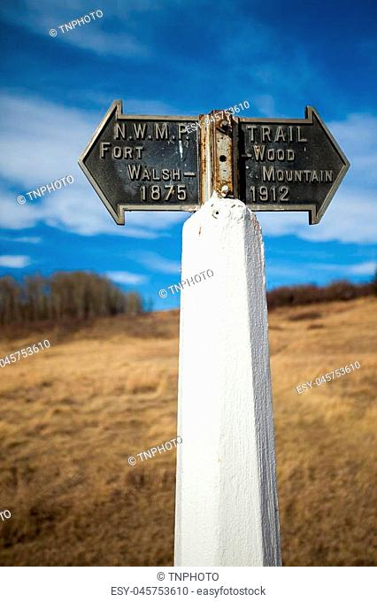 Historic trail marker at the Fort Walsh National Historic Site, Saskatchewan, Canada