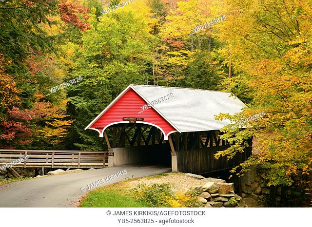 A True New England Scene a Covered Bridge Surrounded by Fall Foliage