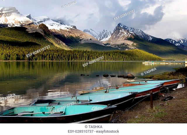 Pristine Maligne lake in Jasper national park, Rocky Mountains