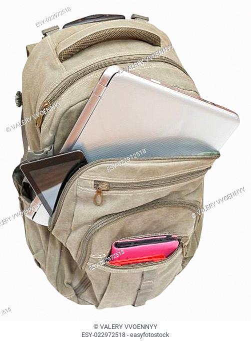 travel knapsack with mobile devices isolated