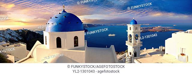 Blue Domed church of Imerovigli, Santorini, Greece