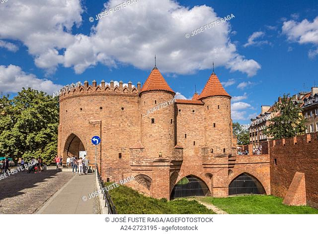 Poland, Warzaw City, The Barbican, Old City walls