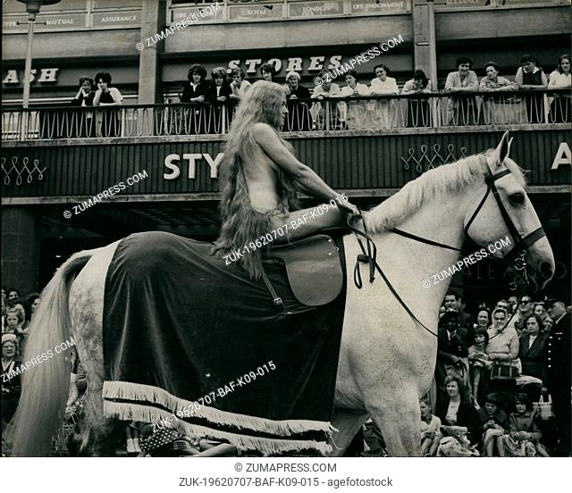 Jul. 07, 1962 - Lady Godiva rides again through the streets of Coventry: Transparent briefs worn under her long tresses were all that protected 31-year-old...