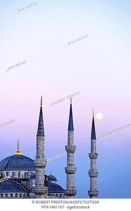 Turkey - Istanbul - The Blue Mosque and the moon