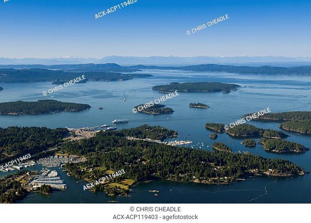 Aerial, Swartz Bay ferry terminal, North Saanich Marina, British Columbia, Canada