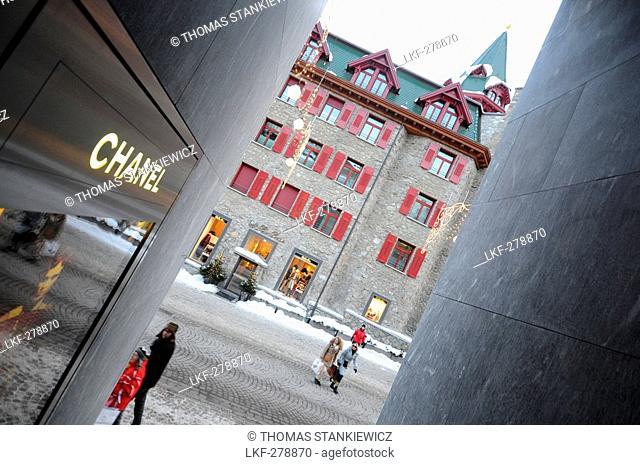 Shopping street, St. Moritz, Engadin, Grisons, Switzerland