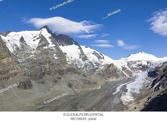 Summit of Mt. Grossglockner, Johannisberg with the Pasterze Glacier, High Tauern National Park, Carinthia, Austria
