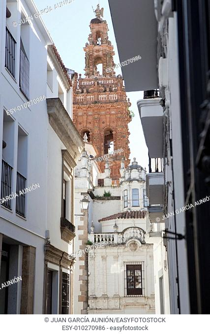 Streets of Jerez de los Caballeros, Spain. Famous village with mudejar towers and Templar stronghold