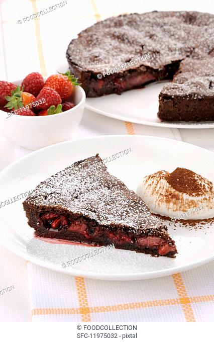 Chocolate pie with strawberries