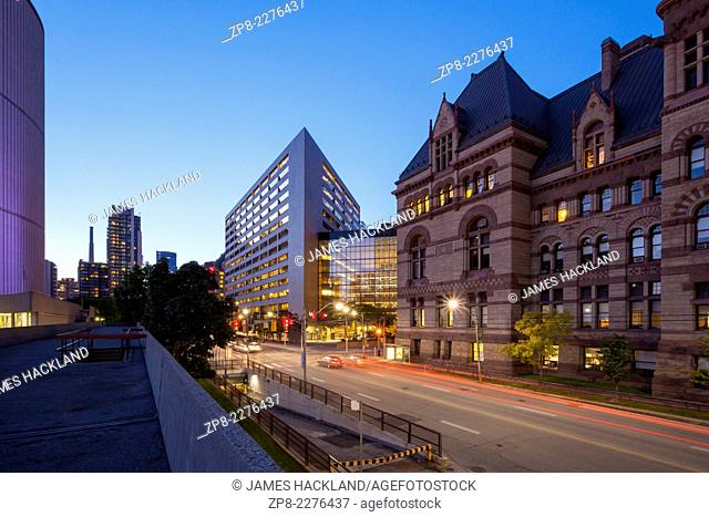 The Northwest corner of Old City Hall from Nathan Phillips Square in downtown Toronto, Ontario, Canada