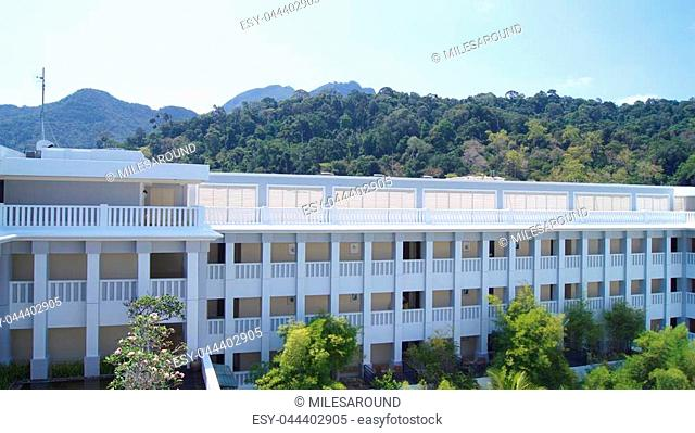 PULAU LANGKAWI, MALAYSIA - APR 4th 2015: Terrace and garden of THE DANNA Hotel in langkawi island. THE DANNA Hotel is a luxury hotel in langkawi with modern...