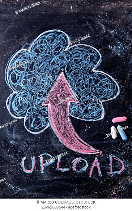 Representation with chalk on the blackboard in the load online files