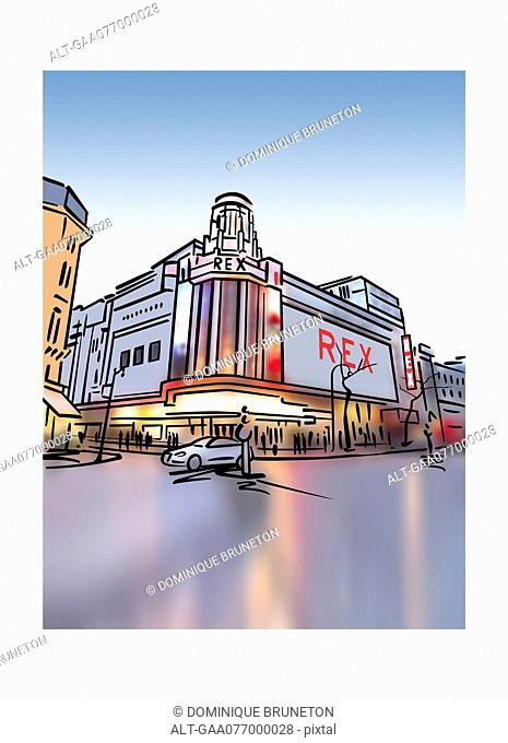 Illustration of Le Grand Rex cinema in Paris, France