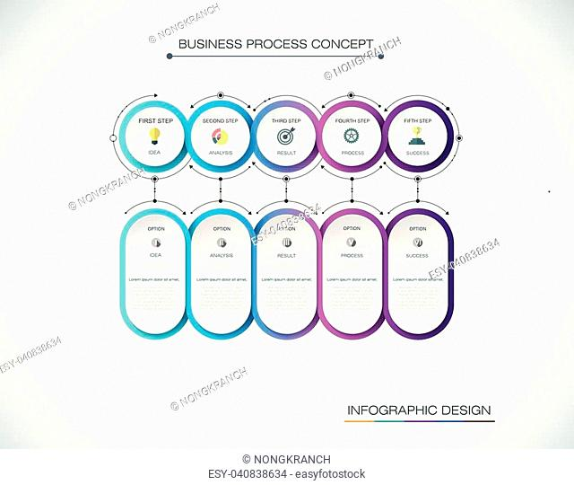 Vector Infographic label design with icons and 5 options or steps. Infographics for business concept. Can be used for presentations banner, workflow layout