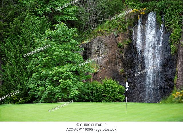 Olympic View Golf Club, watefall feature, Metchosin, British Columbia, Canada