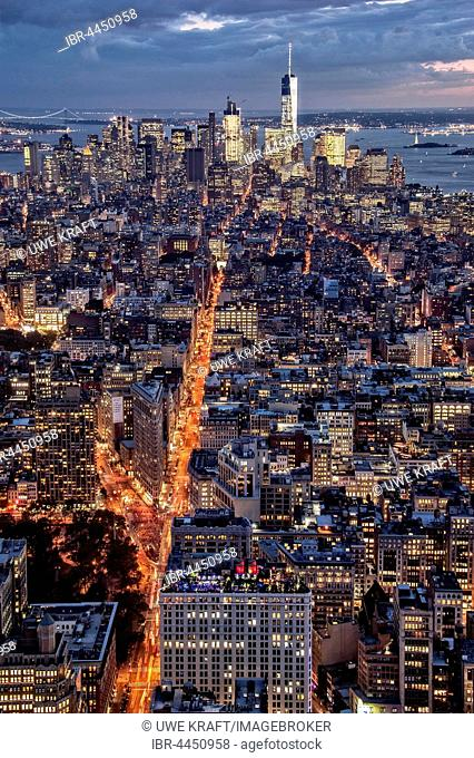 View of Lower Manhattan from the Empire State Building at dusk, New York City, USA