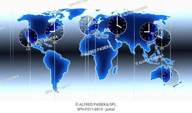 Computer artwork of a world map illustration with indicated time zones, clocks at locations and time differences of Los Angeles, New York, London, Moscow