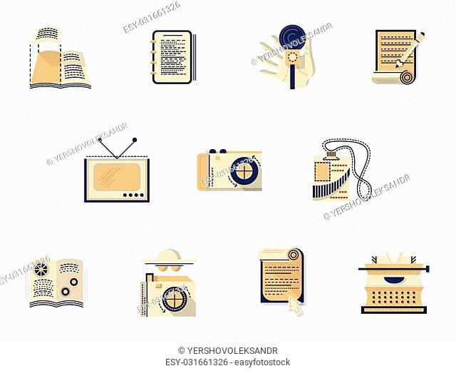 Set of elements of media. Flat color style vector icons. Radio, publishing, journalism, photographing, reportage and other samples