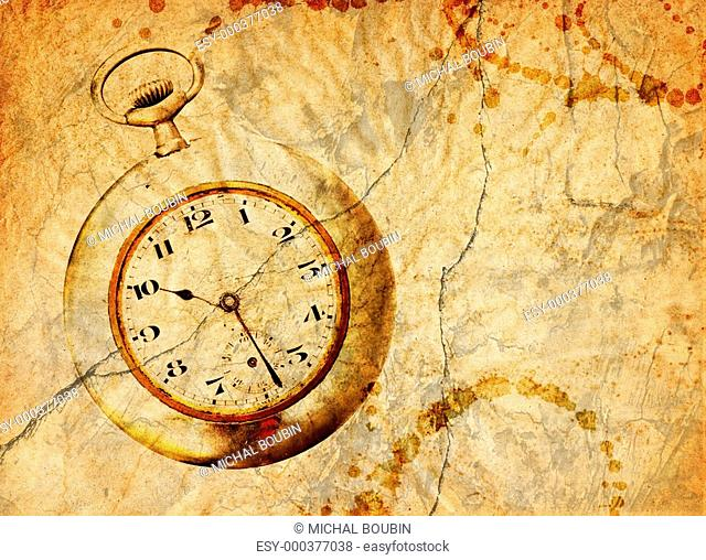 background with pocket watch in grunge style