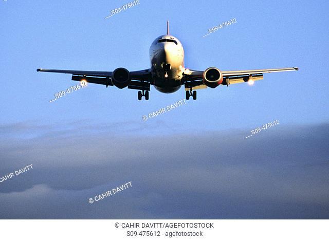 Boeing 737 landing at Dublin Airport on runway 34. Dublin, Co. Dublin. Ireland