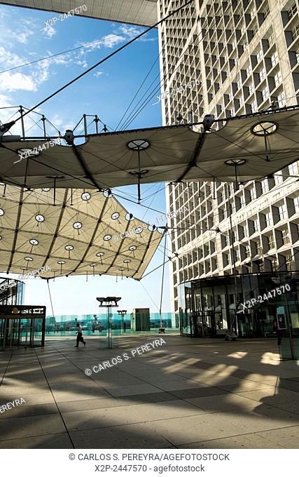 Arch of La Defense building, modern architecture in the district of La Defense in Paris, France