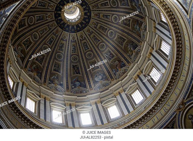 Interior view of dome in Saint PeterÉs Basilica, Rome, Italy