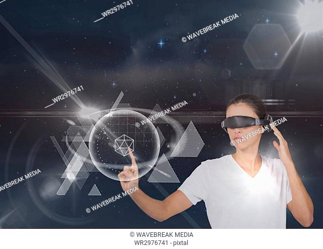 Woman in VR headset touching interface against black sky with stars and flares