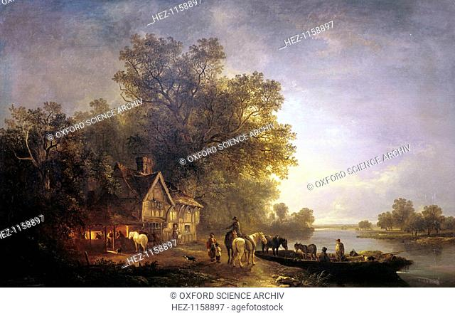 'River Landscape with Rustics and Horses', c1860. A moonlit rural scene by a river. A half-timbered cottage with a tiled roof stands near the water and mature...