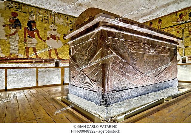 Luxor, Egypt, West valley: hieroglyphs and paintings in the tomb of Ay (KV23) XVIII° dyn. The main hall with the sarcophagus of the pharaoh