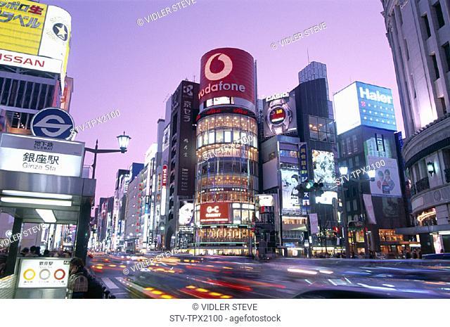 Asia, Ginza, Holiday, Honshu, Japan, Landmark, Night, Tokyo, Tourism, Travel, Vacation, View