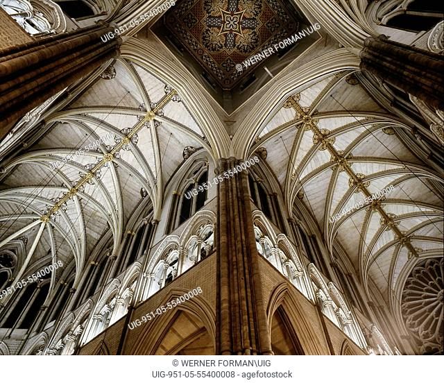 The richly ornamented Gothic vaulting of the nave