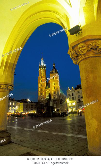 Market Place, Old Town, St. Mary`s church, Cracow, Poland