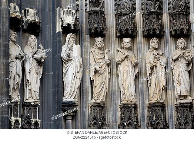 Sculptures on the Facade of the Cathedral in Cologne, Germany