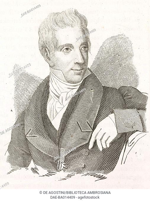 Portrait of Leopoldo Cicognara (1767-1834), Italian art istorian, engraving from L'album, giornale letterario e di belle arti, Saturday, April 18, 1835, Year 2
