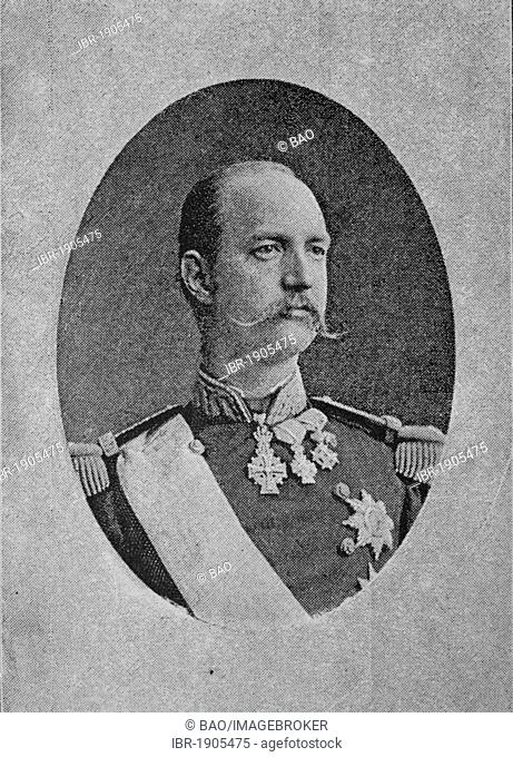 George I, 1845 - 1913, King of Greece, woodcut from 1880