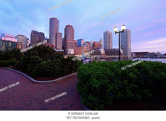 Massachusetts, Boston, City waterfront at dusk