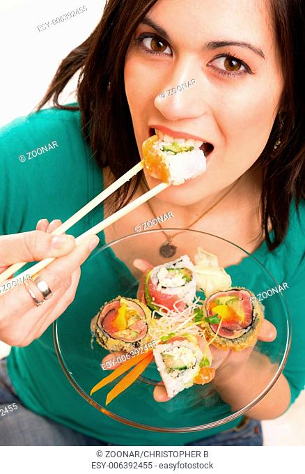 Candid Close Portrait Cute Brunette Woman Raw Food Sushi Lunch